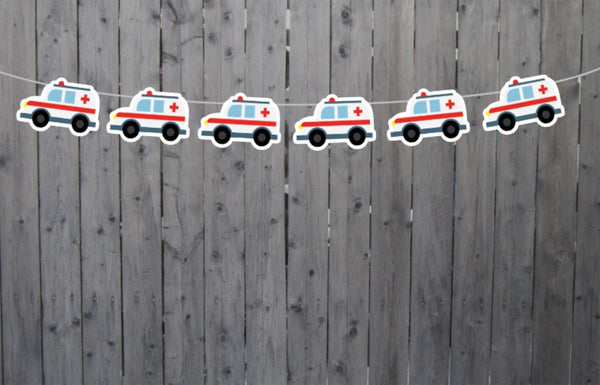 Ambulance Garland, Ambulance Banner, Ambulance Birthday