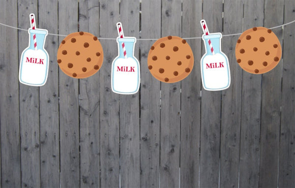 Milk and Cookies Garland, Milk and Cookies Banner, Milk and Cookies Photo Prop