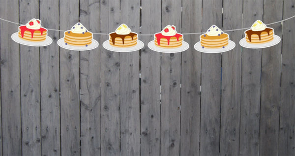 Pancake Garland, Pancake Banner, Pancakes and Pajamas, Slumber Party, Pancake Photo Prop, Pancake Decorations