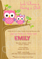 Owl Baby Shower Invitation - Pink Owl Baby Shower Invite