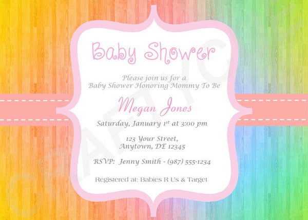 Baby Shower Invitation, Colorful Baby Shower, Rainbow Baby Shower Invite, Rainbow Invitation Printable