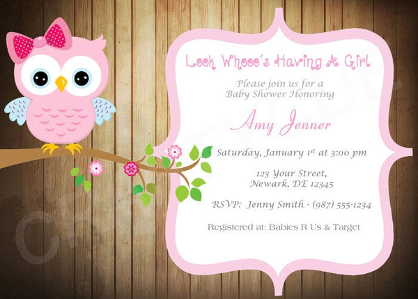 Wood Owl Baby Shower Invitation - Pink Owl Baby Shower Invite - Rustic Baby Shower Invitation - Girl Baby Shower Invitation
