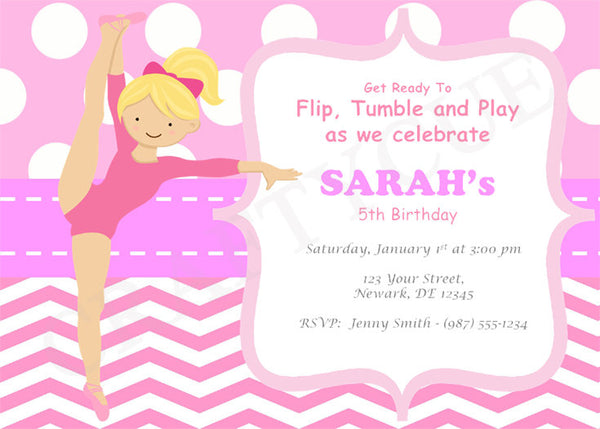 GYMNASTICS Birthday Invitation - Gymnastics Birthday Invitation