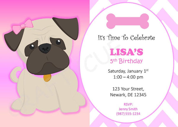 Pug Birthday Invitation - Puppy Party Invitation - Dog Party Invitation