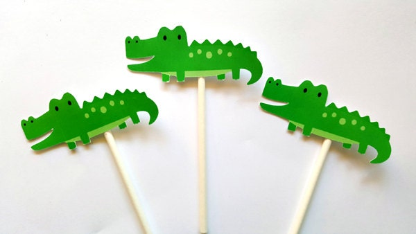 Alligator Cupcake Toppers - Alligator Birthday - Alligator Baby Shower - Jungle Cupcake Toppers