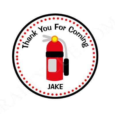 Firetruck Birthday Favor Bag Tags, Firetruck Birthday Goody Bag Tags, Fire Extinguisher Favor Bag Tags, Goody Bag Tags