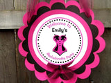 Lingerie Cupcake Toppers - Corset Cupcake Toppers - Bachelorette Party Cupcake Toppers - Pink and Black Button Down