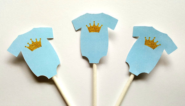 Prince Baby Shower Cupcake Toppers - Royal Prince Cupcake Toppers with Gold Crowns