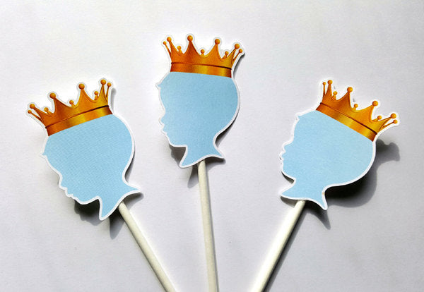 Prince Baby Shower Cupcake Toppers - Royal Prince Cupcake Toppers