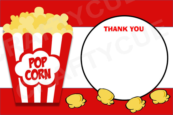 Popcorn Thank You Cards - Printable