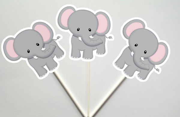 Elephant Cupcake Toppers, Jungle Cupcake Toppers, Safari Cupcake Toppers