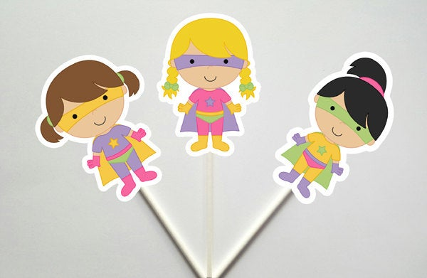 Girl Superhero Cupcake Toppers, Superhero Girls Cupcake Toppers (17171047A)