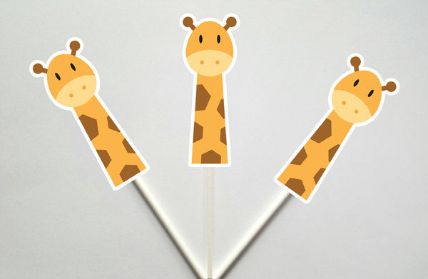 Giraffe Cupcake Toppers, Jungle Cupcake Toppers, Safari Cupcake Toppers