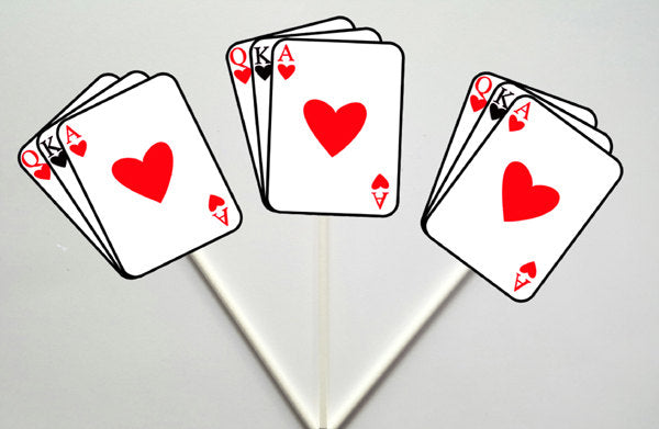 Playing Cards Cupcake Toppers, Casino Party, Vegas, Cupcake Toppers