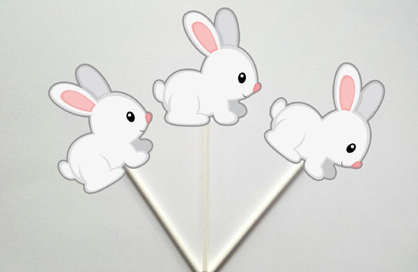 Bunny Rabbit Cupcake Toppers, Easter Cupcake Toppers