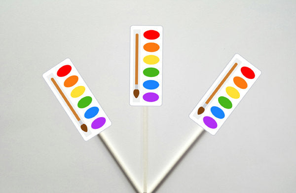 Paint Party Cupcake Toppers, Art Party Cupcake Toppers, Painting Cupcake Toppers, Paint brush Cupcake Toppers