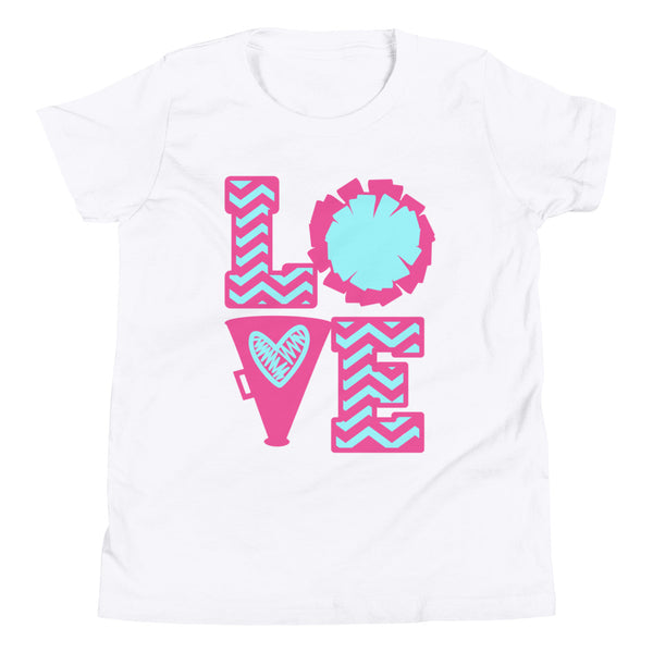 Cheer Love Shirt, Cheerleader Shirt, Cheerleading Shirt, Youth Short Sleeve T-Shirt