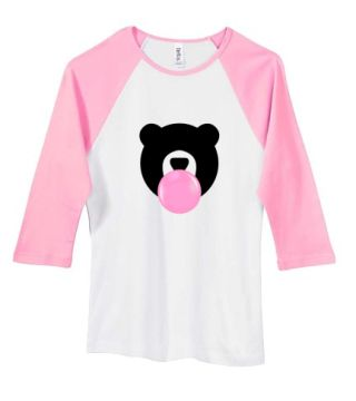 KANDY Teddy Ladies Baby Rib 3/4 Sleeve Tee White with Pink Sleeves