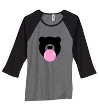 Load image into Gallery viewer, Kandy Teddy Ladies Baby Rib 3/4 Sleeve Tee Heather Grey with Black Sleeves
