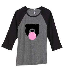 Kandy Teddy Ladies Baby Rib 3/4 Sleeve Tee Heather Grey with Black Sleeves
