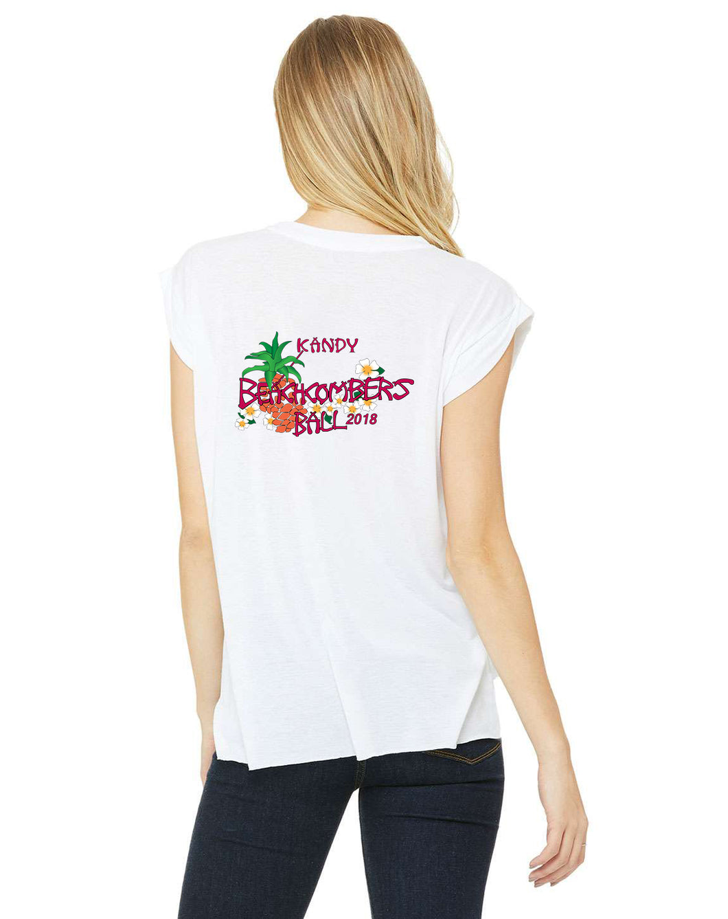 Beachcombers Woman's Back Muscle T White