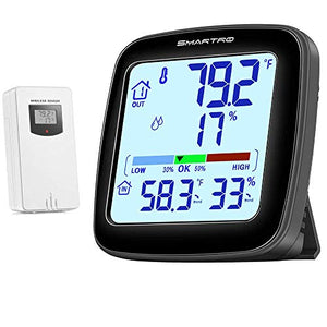 SMARTRO SC92 Professional Indoor Outdoor Thermometer Wireless Digital Hygrometer Room Humidity Gauge Temperature and Humidity Meter & Pro Accuracy Calibration