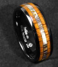 Load image into Gallery viewer, Black Tungsten Koa Wood and Abalone Ring - campfiredeals