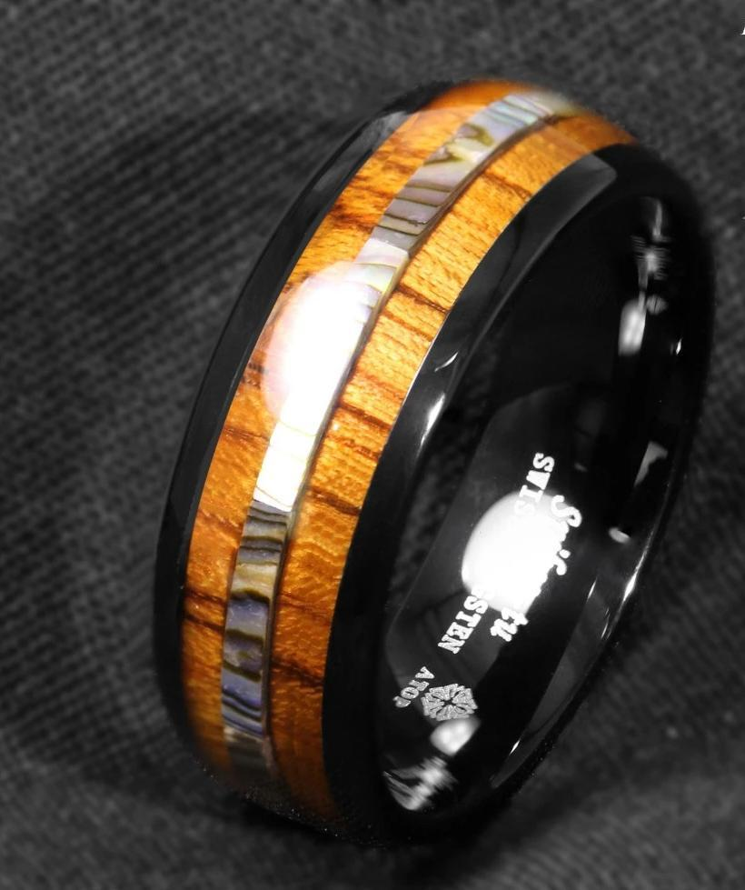 Black Tungsten Koa Wood and Abalone Ring - campfiredeals