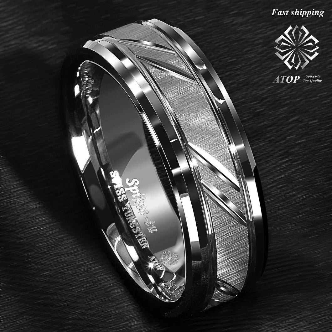 8mm Tungsten Carbide Ring Silver - campfiredeals