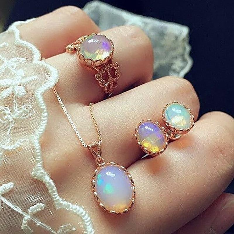 Opal Ring Necklace Ear Studs Set - campfiredeals