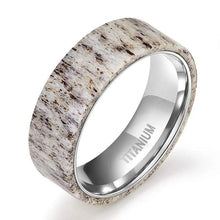 Load image into Gallery viewer, Natural Deer Antler Titanium Ring - campfiredeals