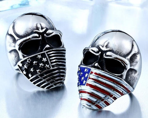 American Flag Stainless Steel Skull Ring - campfiredeals