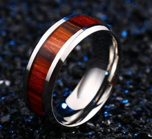 Load image into Gallery viewer, Red Wood Stainless Steel Ring - campfiredeals