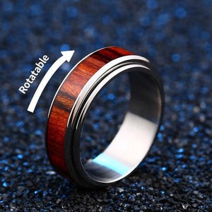 Red Wood Stainless Steel Ring - campfiredeals