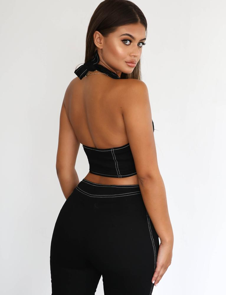 Temperence Black Halter Top