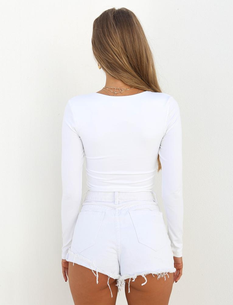 Camden White Long Sleeve Crop Top