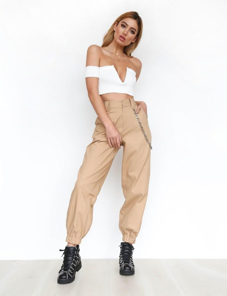beige cargo pants for women