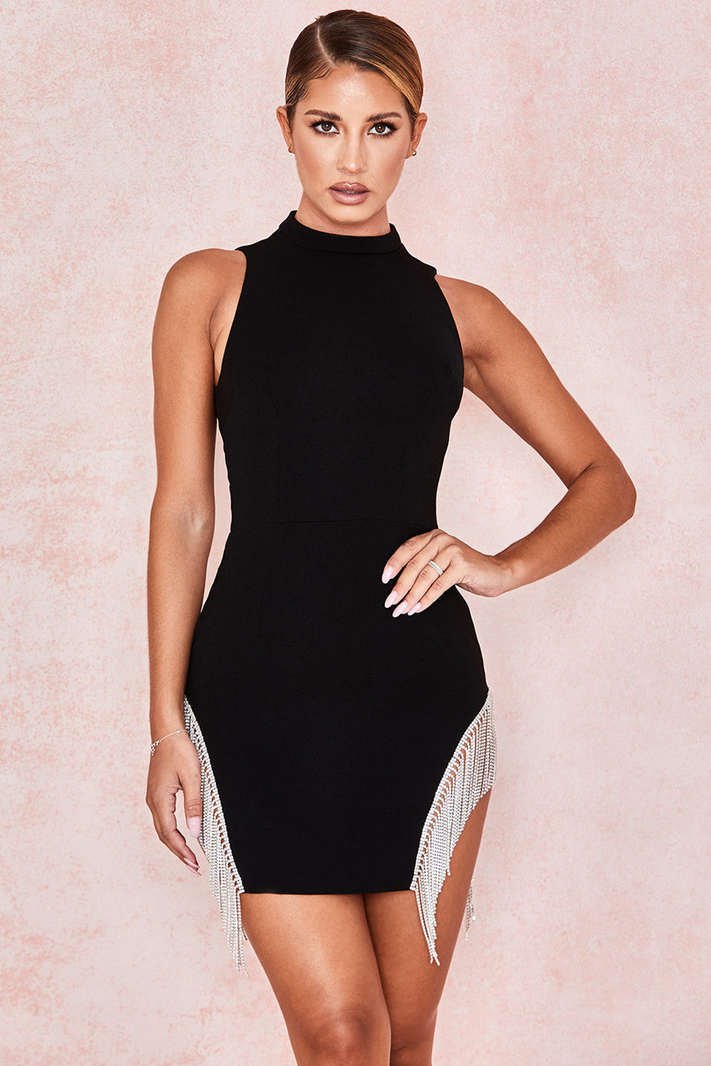 black crystal fringe bandage dress