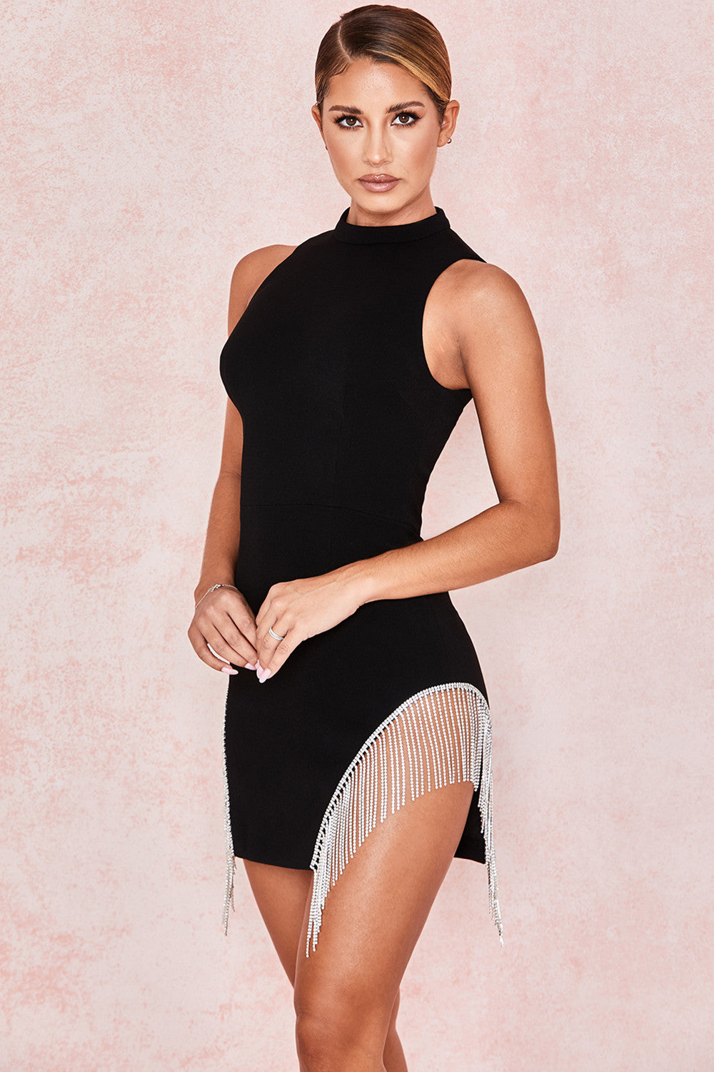 black crystal fringe dress