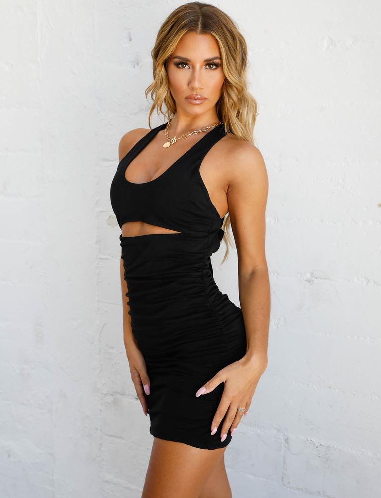 black cut out dress