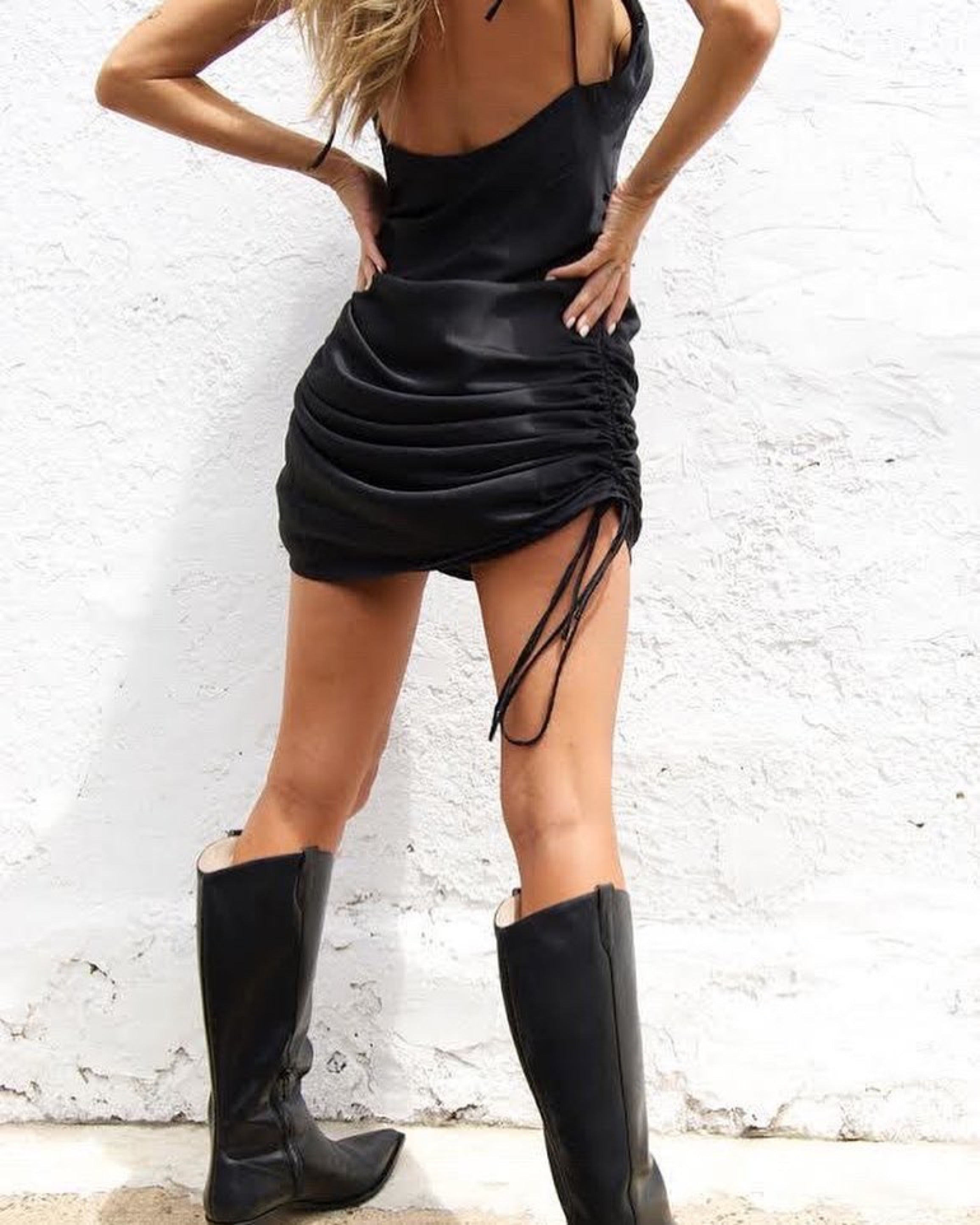black drawstring slip dress