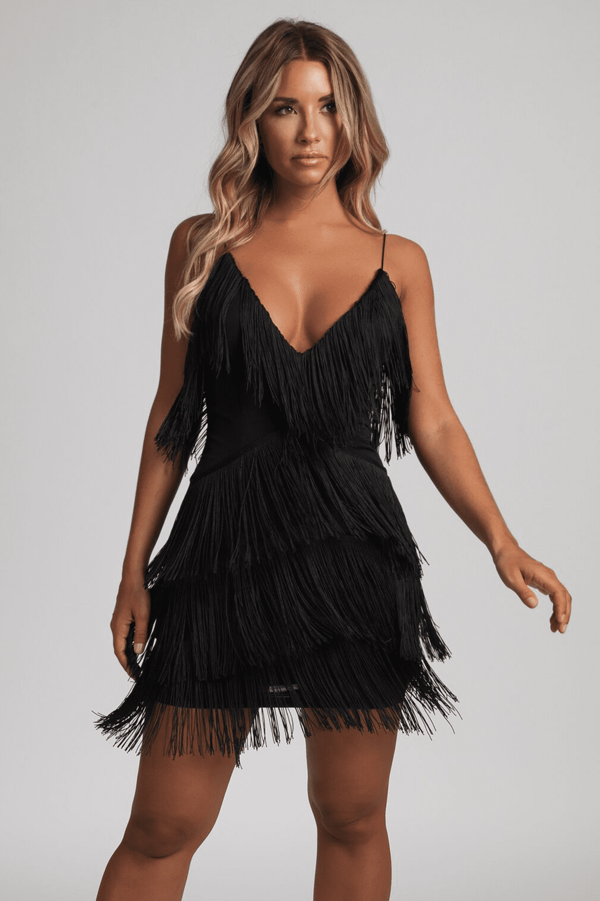 black fringe mini dress