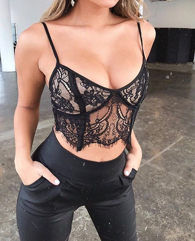 black lace bustier crop top