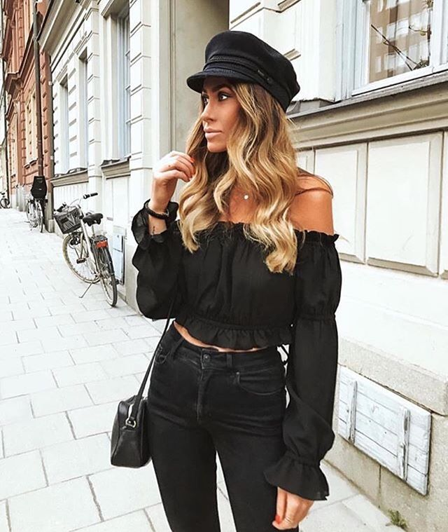 black off shoulder long sleeve top