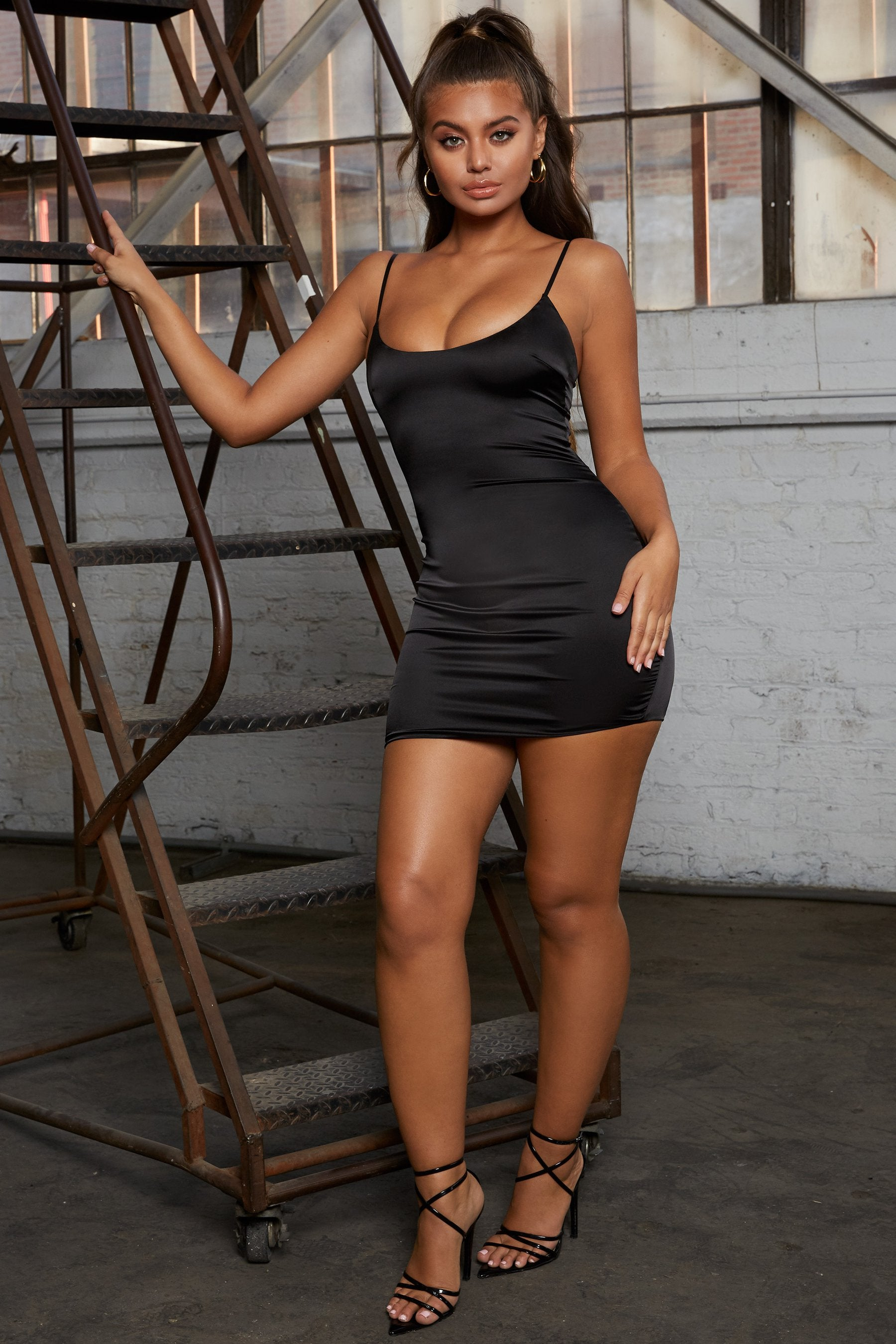 black satin bodycon party dress