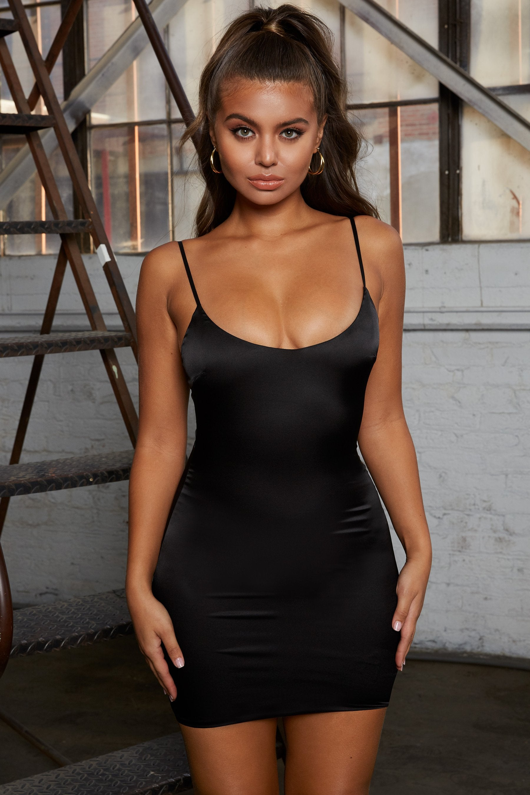 black satin dress