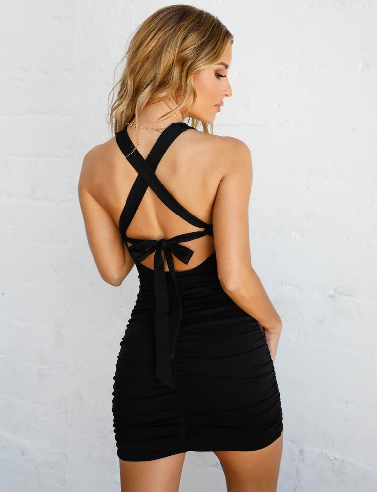 black tie back mini dress