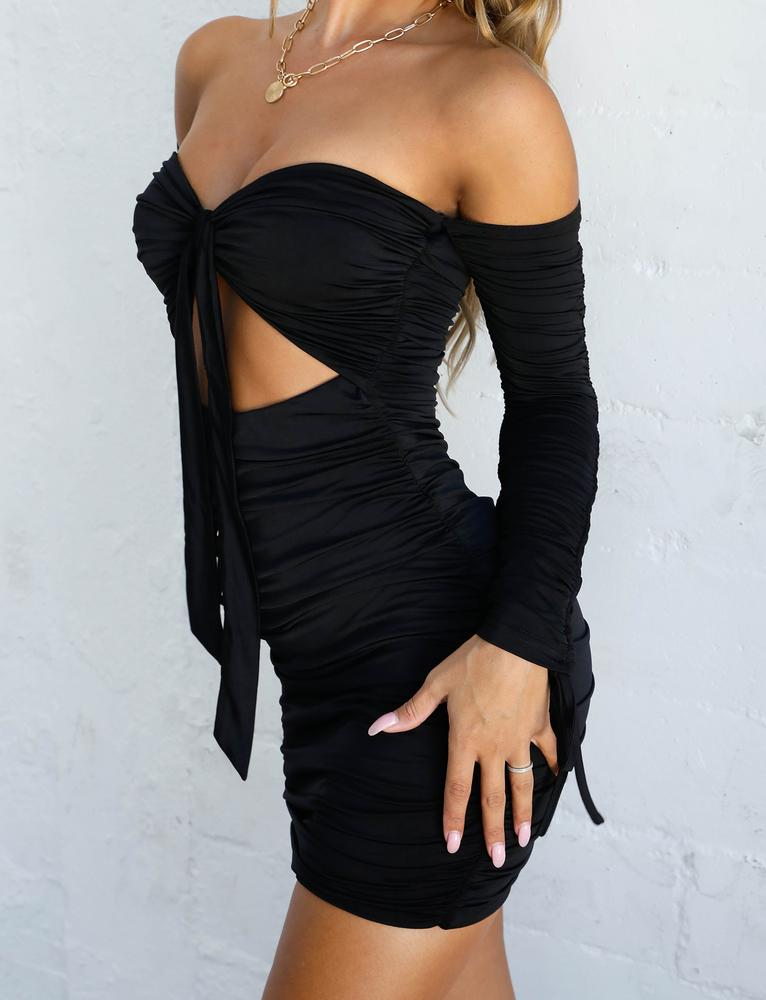 black tie front long sleeve off shoulder bodycon dress