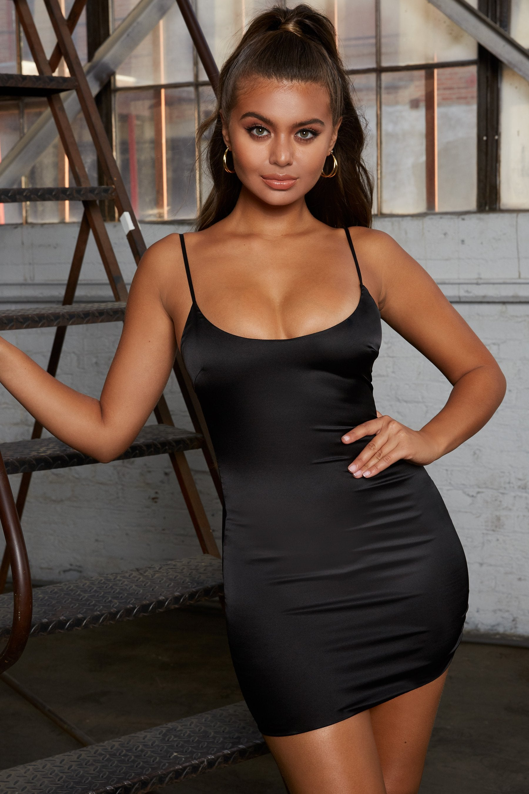 bodycon black satin dress