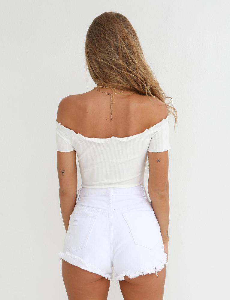 cream off shoulder bodysuit